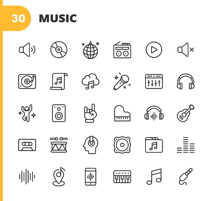 Music Line Icons. Editable Stroke. Pixel Perfect. For Mobile and Web. Contains such icons as Speaker, Audio, Music Player, Music Streaming, Dancing, Party, Piano, Headphones, Guitar, Radio, Music Note, DJ, Singing, Karaoke, Drums, Rock, Pop, EDM.