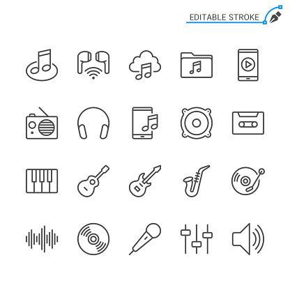 Music line icons. Editable stroke. Pixel perfect.