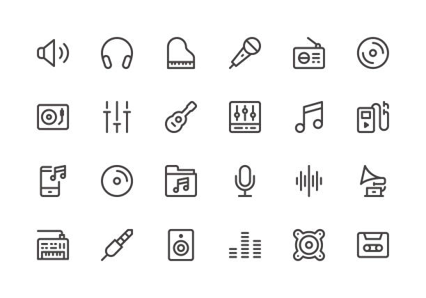 Music - Line Icons Music - Line Icons - Vector EPS 10 File, Pixel Perfect 24 Icons. headphones stock illustrations