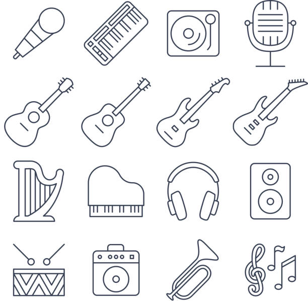 Music line vector icons set vector art illustration