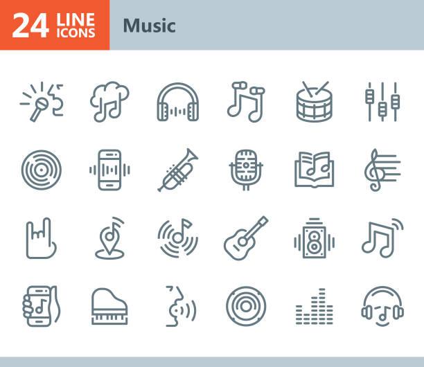 ilustraciones, imágenes clip art, dibujos animados e iconos de stock de música - los iconos de vector de línea - íconos de la música