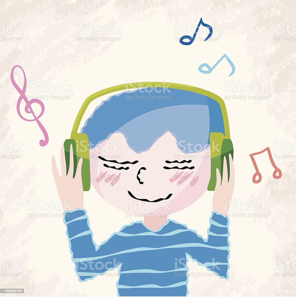 music listening boy vector art illustration
