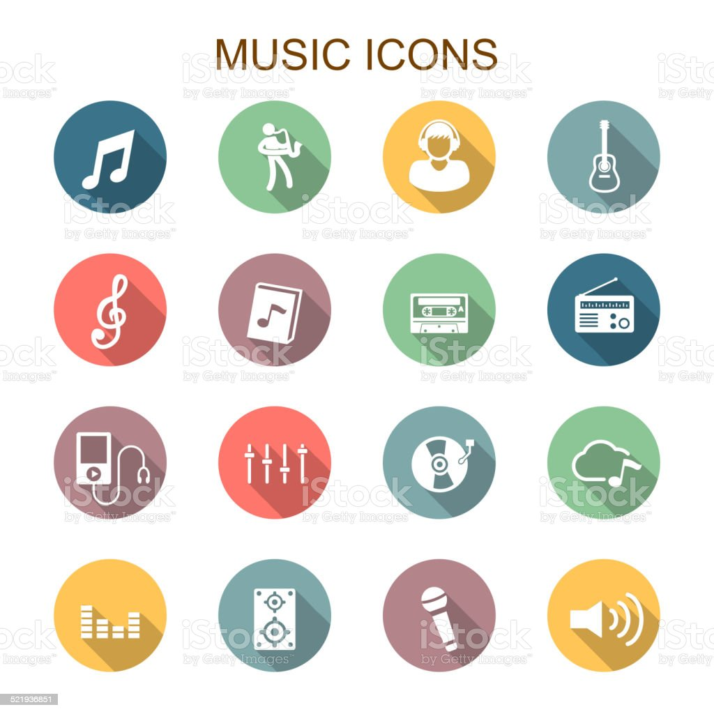 music long shadow icons vector art illustration