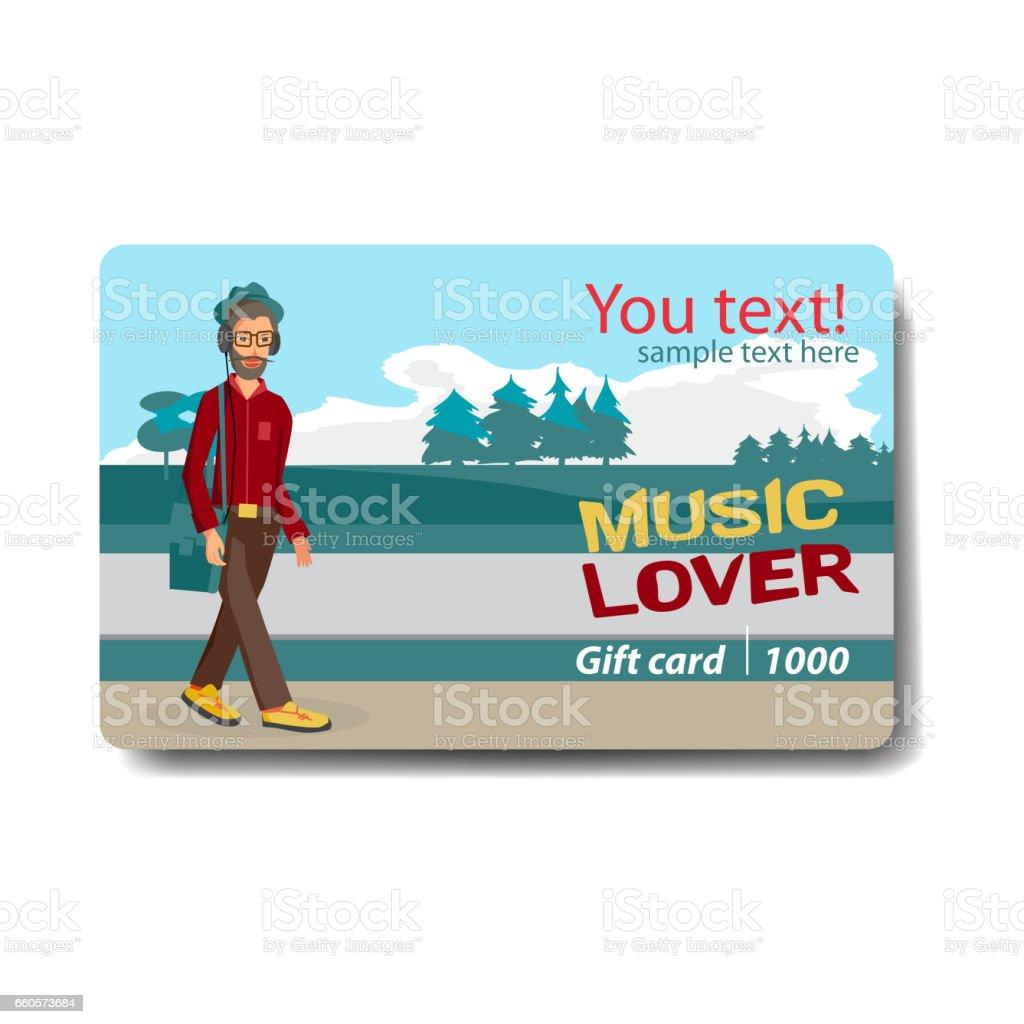 Musik älskare försäljning rabatt presentkort - Royaltyfri Affär vektorgrafik