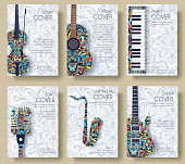 Music magazine layout flyer invitation design. Set of musical ornament illustration concept. Art instrument, poster, book, abstract, ottoman motifs, element. Decorative ethnic greeting