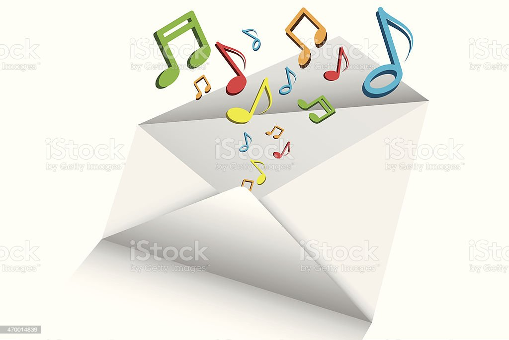music mail 3d vector on white background, royalty-free stock vector art