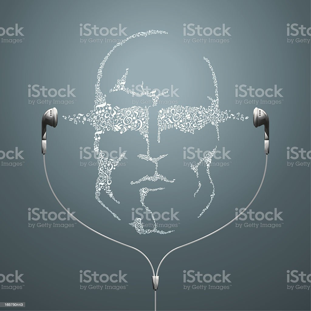 Music Man Face with Earphones vector art illustration