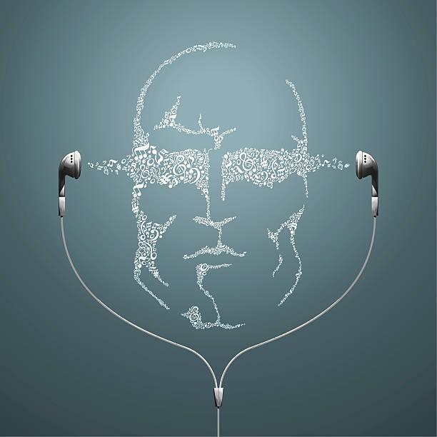 musik mann gesicht mit-kopfhörer - surreal stock-grafiken, -clipart, -cartoons und -symbole