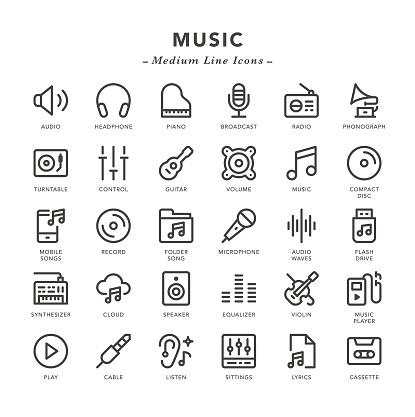 Music - Medium Line Icons