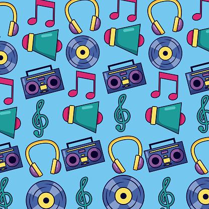 music megaphone boombox vinyl note background
