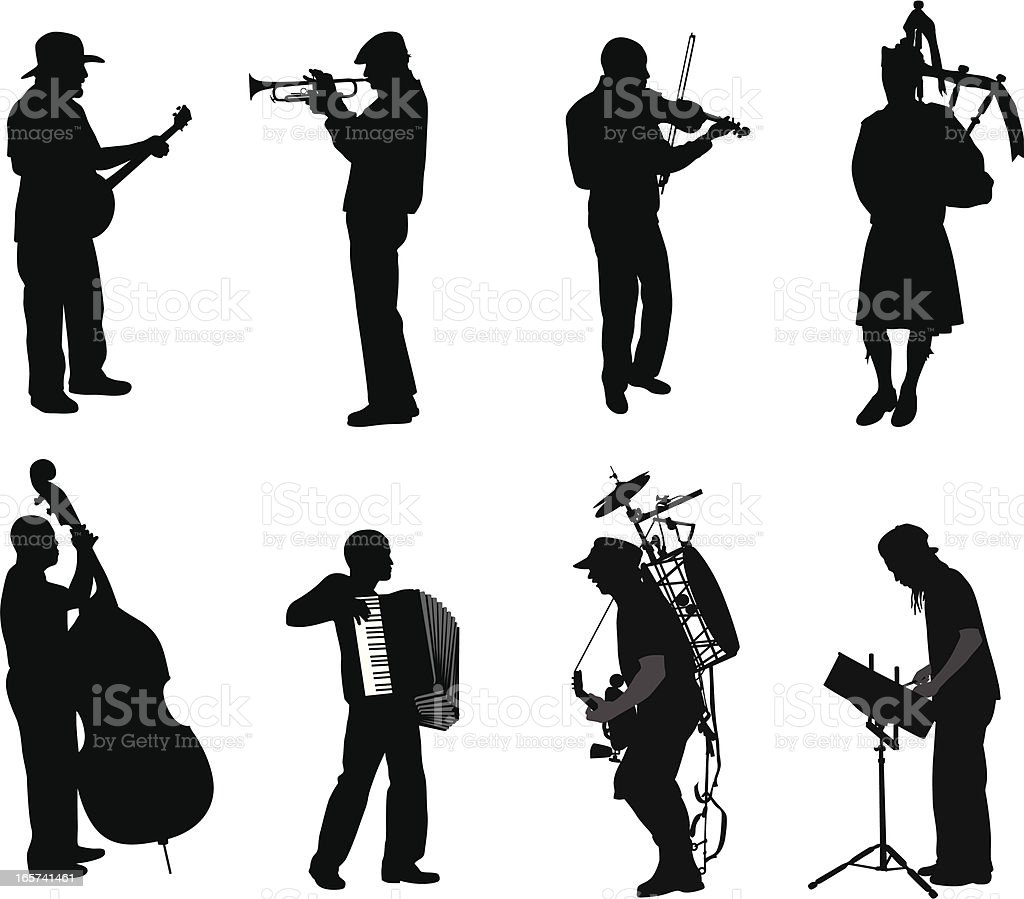 Music Men Vector Silhouette royalty-free music men vector silhouette stock vector art & more images of accordion - instrument