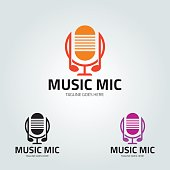 Music mic design template. Vector illustration