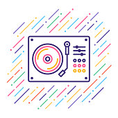 Line vector illustration of dj turntable.