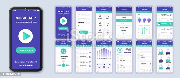 Music mobile app interface design vector templates set. Audio player. Online playlist. Smartphone web page layout. Pack of UI, UX, GUI screens for application. Phone display. Web design kit
