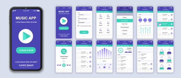 Music mobile app interface design vector templates set. – artystyczna grafika wektorowa