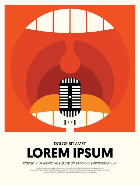 stockillustraties, clipart, cartoons en iconen met muziek moderne retro vintage abstracte poster achtergrond - zingen