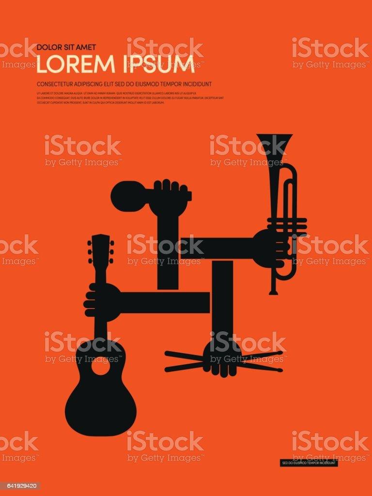 Musique de fond affiche rétro moderne - Illustration vectorielle