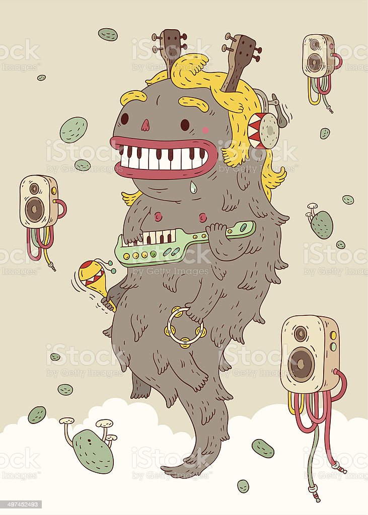 Music Monster vector art illustration