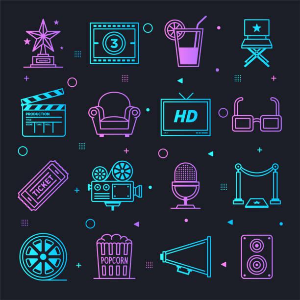 illustrations, cliparts, dessins animés et icônes de musique & movie industries constellation ligne gradient vector icons set - camera sculpture