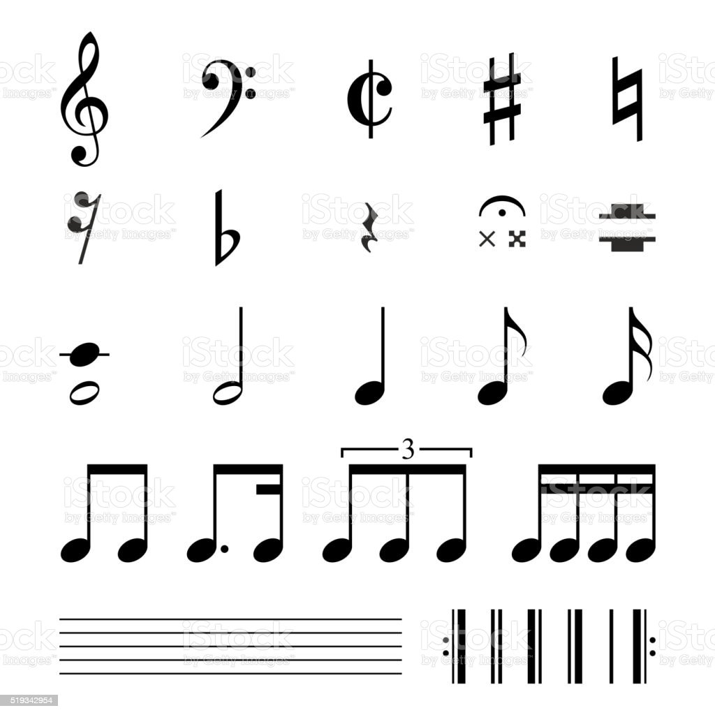 Music notation symbols illustration stock vector art more images music notation symbols illustration royalty free music notation symbols illustration stock vector art amp buycottarizona Images