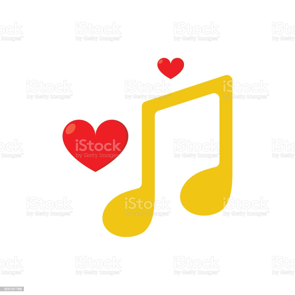 Music Note And Hearts Flat Icon With White Background Stock Vector ...