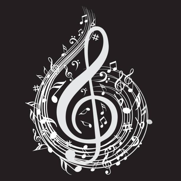 hinweis hintergrundmusik mit musik-symbol-icon-sammlung - musiksymbole stock-grafiken, -clipart, -cartoons und -symbole