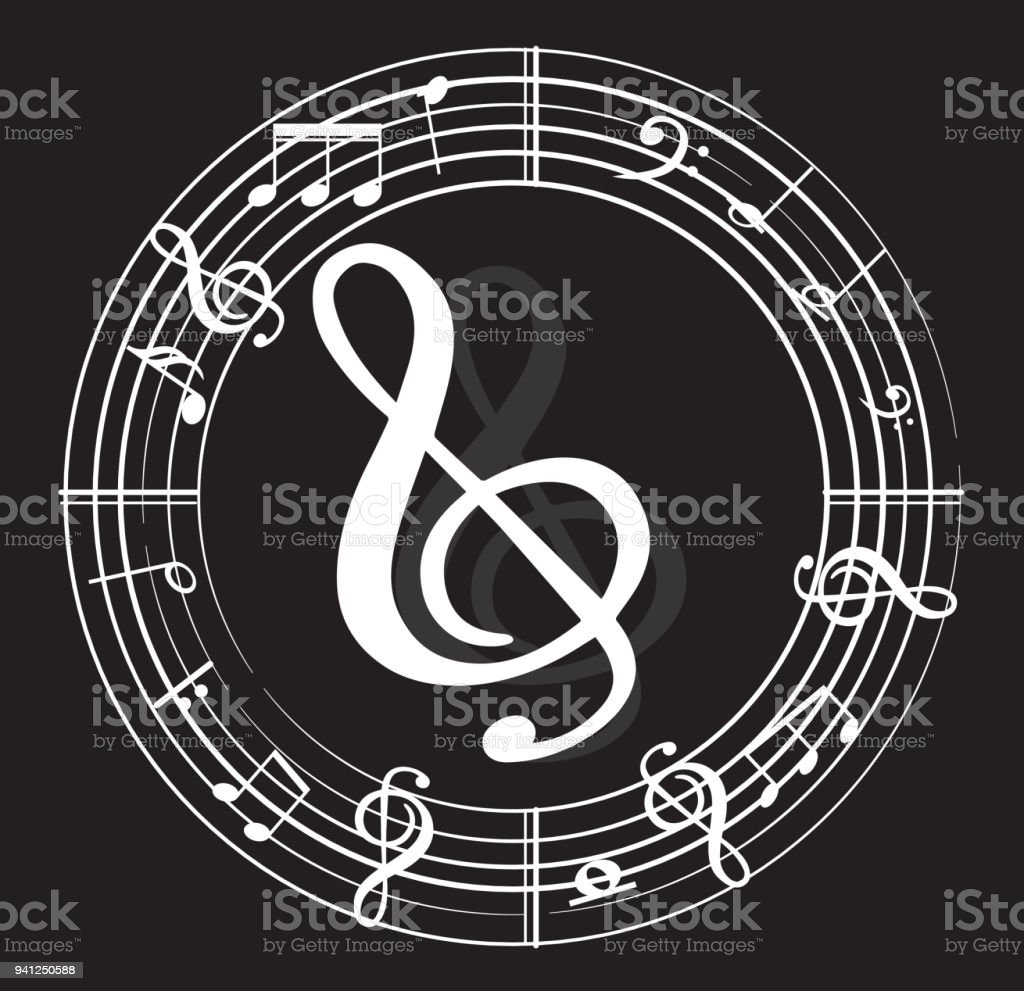 Music Note Background With Music Symbols Stock Vector Art More