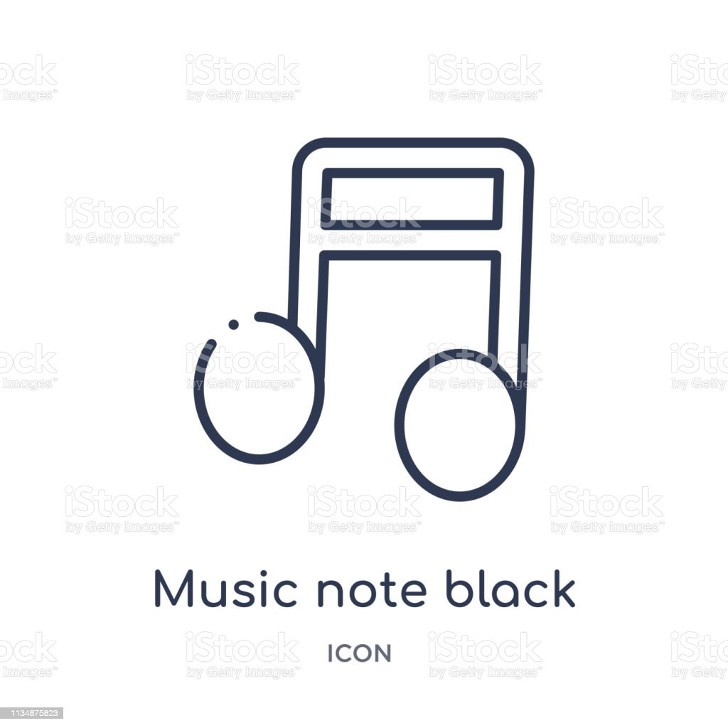 music note black icon from music outline collection. Thin line music...