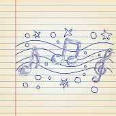 Line drawing of Music note, Elements are grouped.contains eps10 and high resolution jpeg.