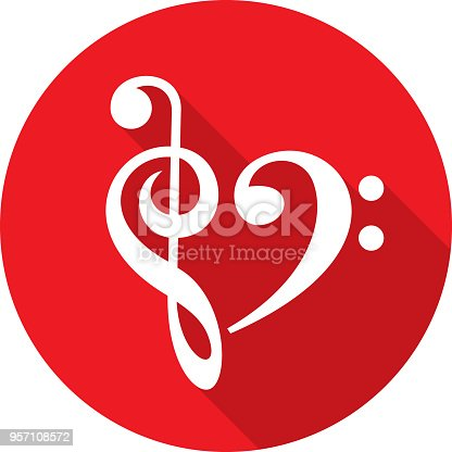Vector illustration of a red treble clef and bass clef in a heart shape icon in flat style.
