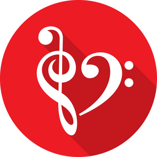 music note heart icon silhouette - klucz wiolinowy stock illustrations