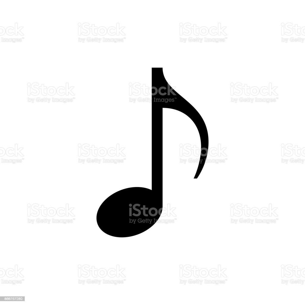 Music note icon. Black, minimalist icon isolated on white background. vector art illustration