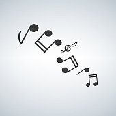 Music note icon melody icons set