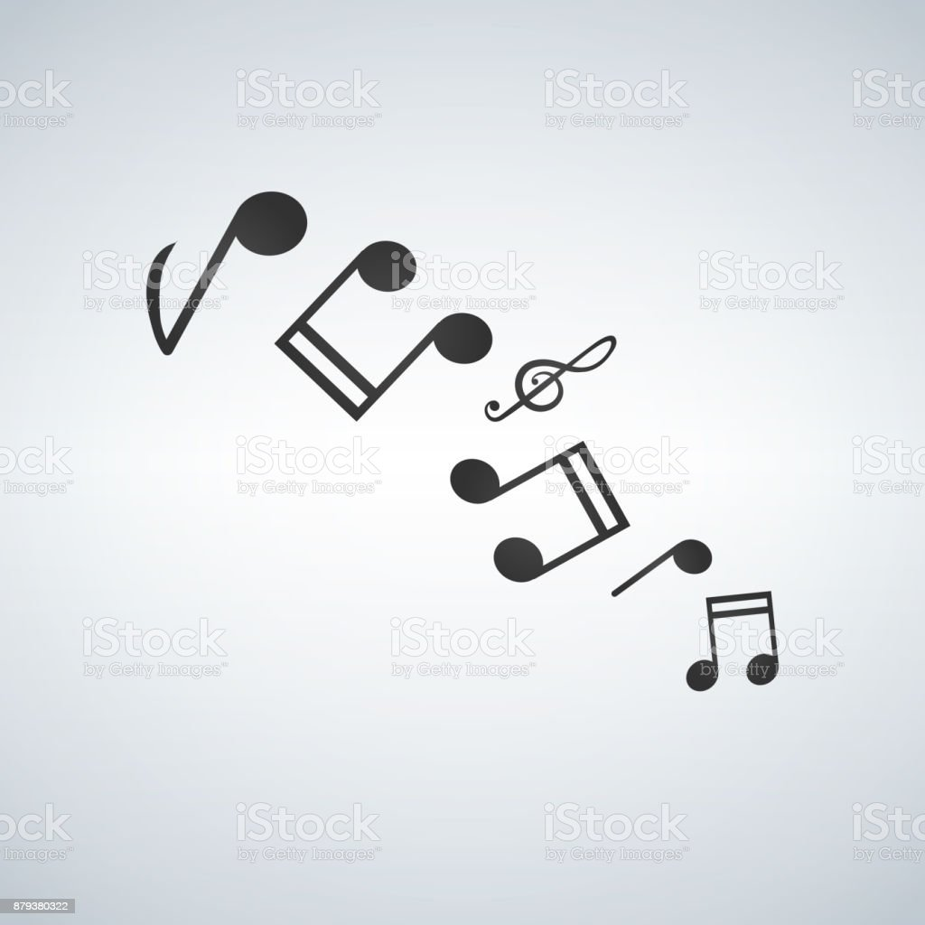Music note icon melody icons set vector art illustration