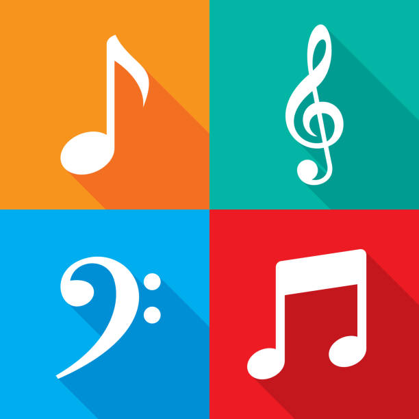 music note icon set - nuta stock illustrations