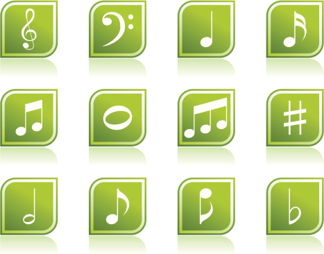 Music Note Icon Symbols in Modern Green Leaf Shape
