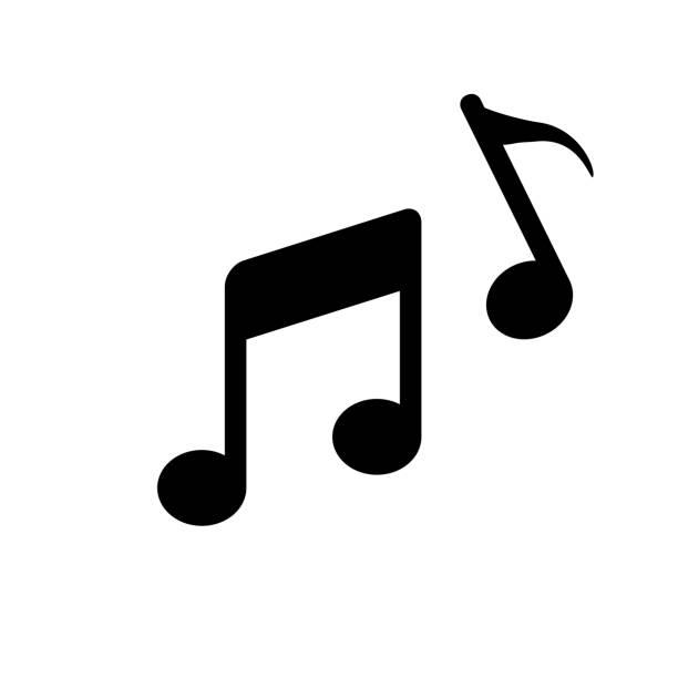 bildbanksillustrationer, clip art samt tecknat material och ikoner med ikon för musik anteckning. vektor illustration - komposition
