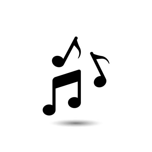 music note icon. vector illustration - muzyka stock illustrations