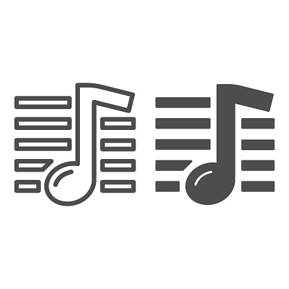 Music note line and solid icon, Music festival concept, melody sign on white background, note icon in outline style for mobile concept and web design. Vector graphics.