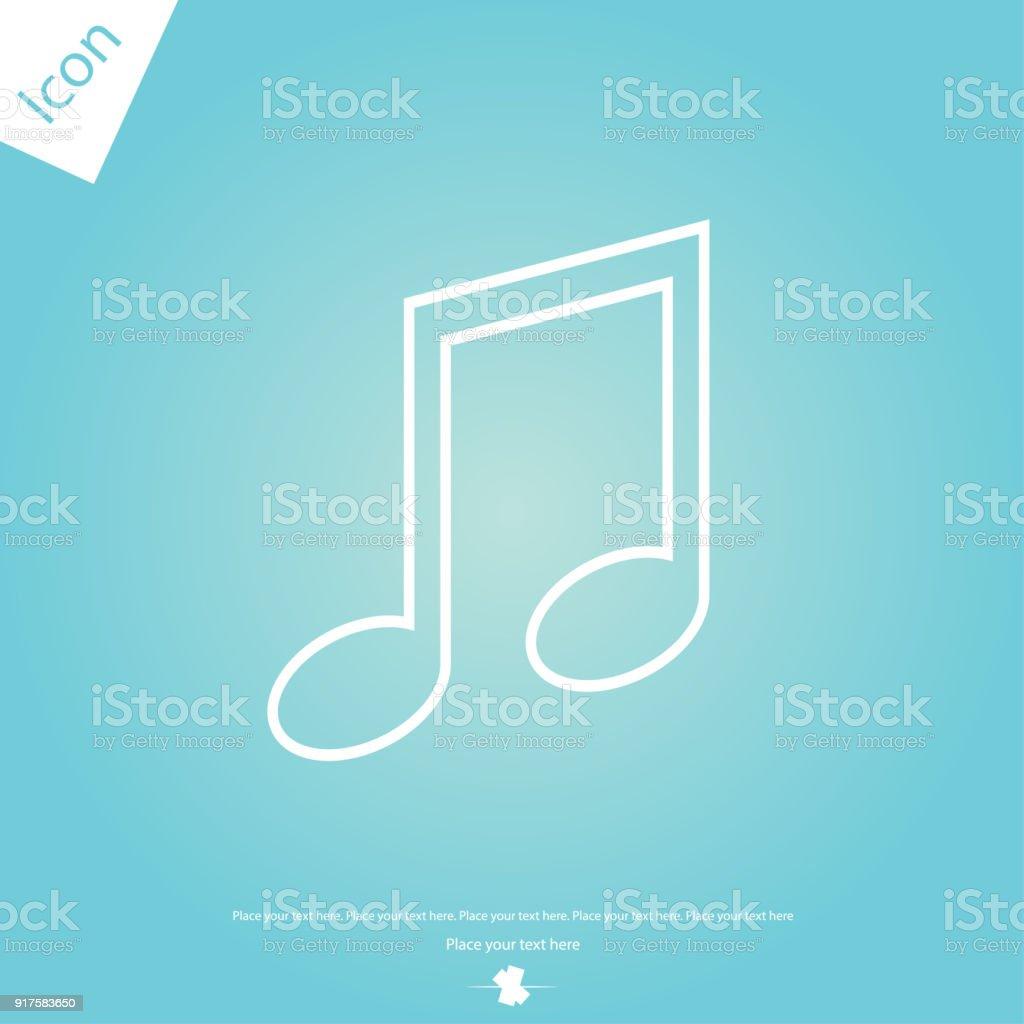 Music note line icon vector art illustration