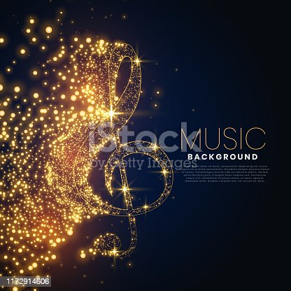 music note made with glowing particles background design