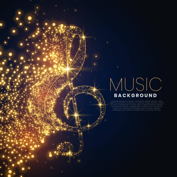 bildbanksillustrationer, clip art samt tecknat material och ikoner med musik anteckning gjord med glödande partiklar bakgrund design - orkester