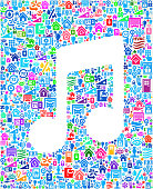 Music Note on Home Automation and Security Vector Graphic. The pattern features royalty free vector buttons on white background. This vector collage features home automation icons including Computer Monitor, Television Set, Air Conditioner, Ceiling Fan, Coffee Maker, Sprinkler, Automatic, Lawn, Technology, Wireless Technology, Computer, Thermostat, Entertainment Center, Security Camera, Speaker, Fire Alarm, Surveillance, Remote Control and Smart Phone.