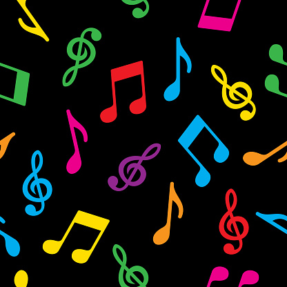 Music Note Pattern Colorful