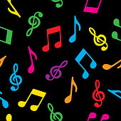 Vector illustration of colorful music notes in a repeating pattern against a black background.