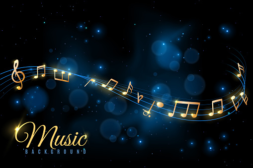 Music note poster. Musical background, musical notes swirling. Jazz album, classical symphony concert announcement vector concept