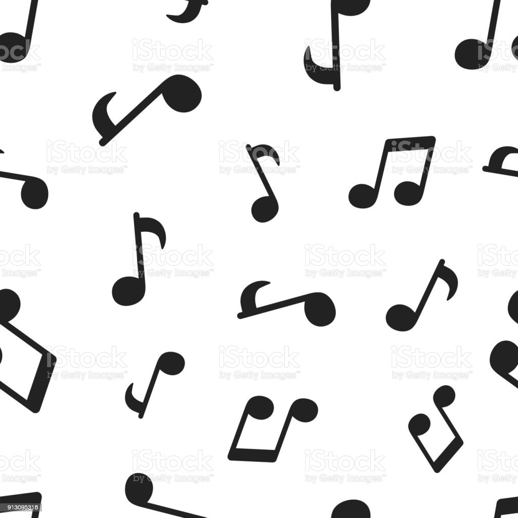 Music note seamless pattern background. Business concept vector illustration. Sound note symbol pattern. - ilustração de arte vetorial
