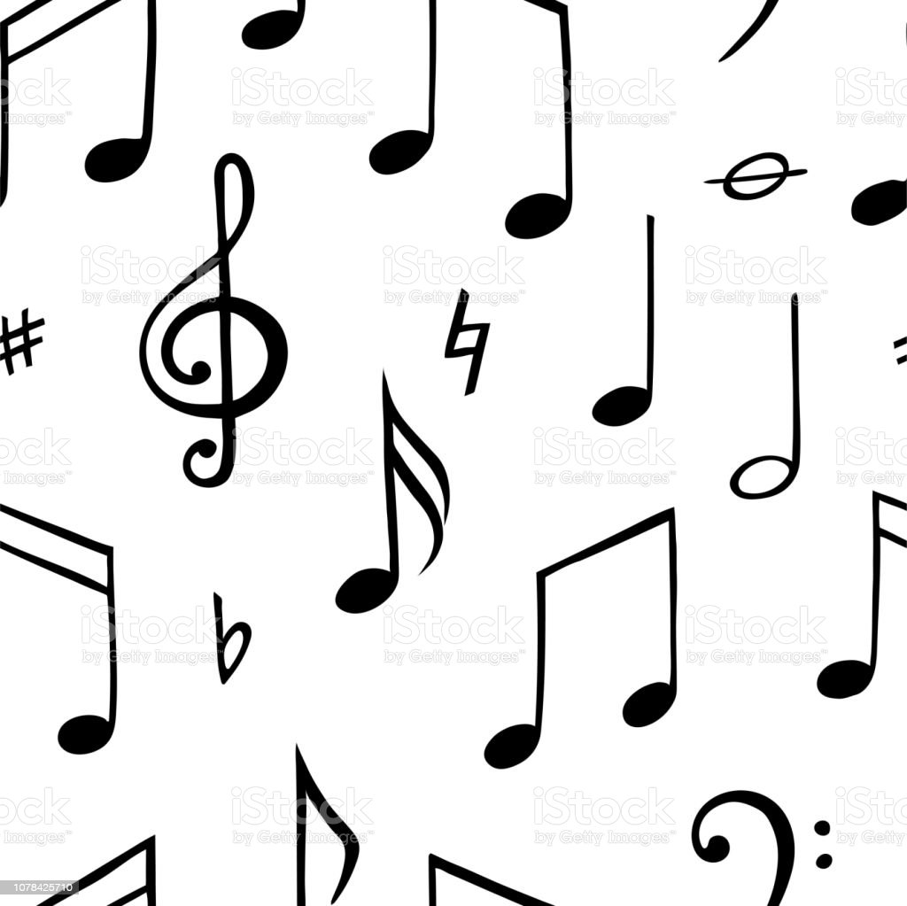 Music Note Seamless Pattern Black And White Illustration