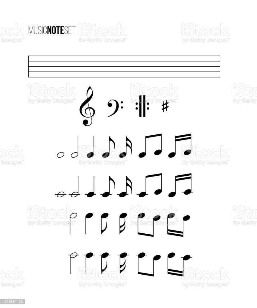 Ilustración de Conjunto De La Nota De Música Vectores Musicales ...