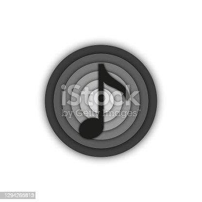 istock Music note sign musical round 3d logo, emblem of a recording studio black and white minimal style. 1294265813